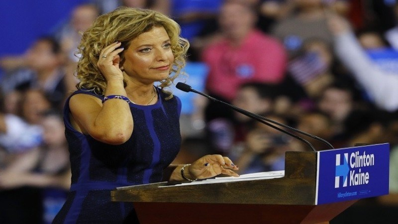 ON THE EVE OF CLINTONS CANDIDACY - SCANDAL TOPPLED THE PRESIDENT OF THE DEMOCRATIC PARTY
